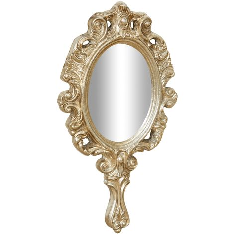 ANTIQUED SILVER FINISH HAND MIRROR MADE IN ITALY