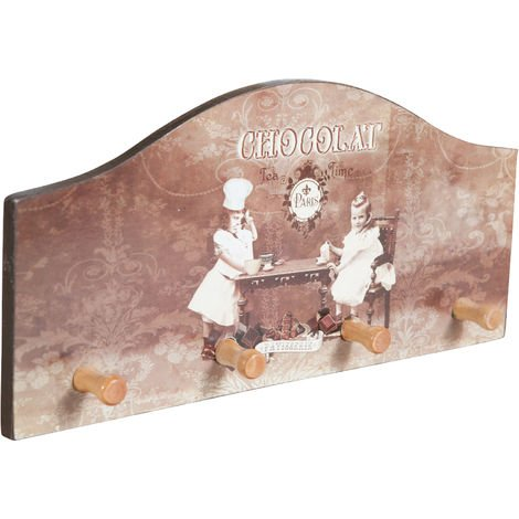 Antiqued wood made chocolat decorated hanger