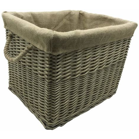 Antiques Wash Canvas Lined Rectangle Log Basket with Rope Handles