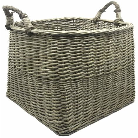 Antiques Wash Square Log Basket with Loop Handles