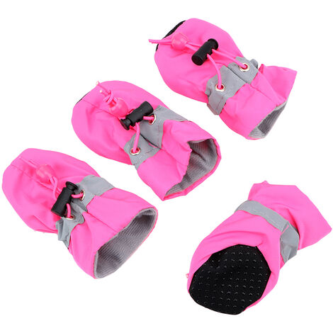 """main image of """"Antiskid Puppy Shoes 4pcs Soft-soled Dog Shoes with Adjustable Drawstring Waterproof Dog Boots Pet Paw Care Protector for Small, Medium Pets Dogs"""""""