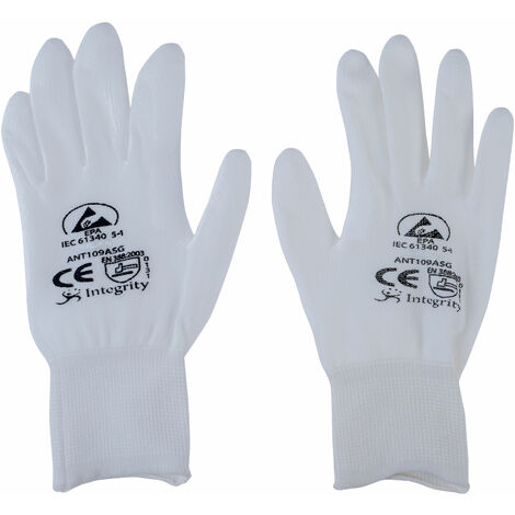 Antistat 109-0003-P ESD PU Palm Nylon White Glove - Small