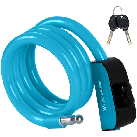 Antivol De Velo, Cable Antivol En Acier Pvc, Bleu
