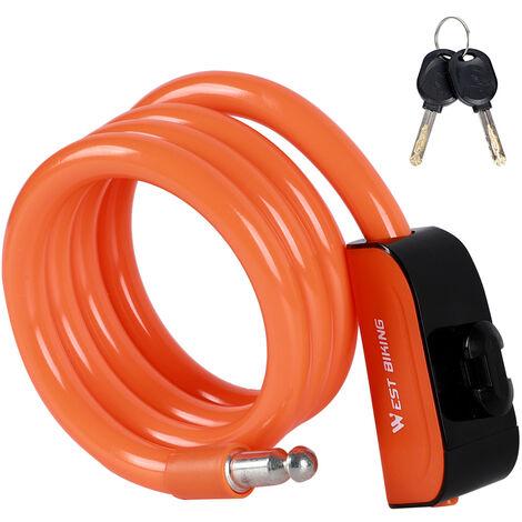 Antivol De Velo Cable D'Acier Pvc Antivol Antivol, Orange