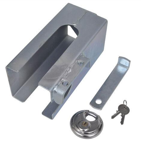 Antivol tête d'attelage en acier galvanisé avec verrou rond 110 x 110 mm diamètre 70 mm