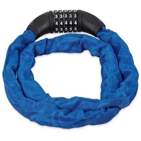 Antivol vélo, Cadenas code, Chaine anti-vol moto 5 chiffres, acier, 120 cm , bleu