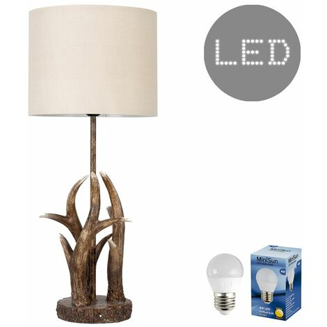 Antler Table Lamp Natural Finish + Beige Light Shade 4W LED Filament Bulb - Warm White - Brown