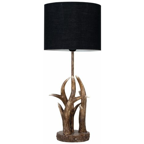 Antler Table Lamp Natural Finish + Black Light Shade 4W LED Filament Bulb - Warm White - Brown