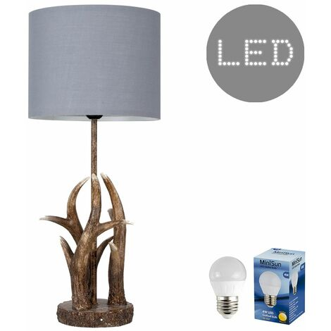Antler Table Lamp Natural Finish + Grey Light Shade 4W LED Filament Bulb - Warm White - Brown