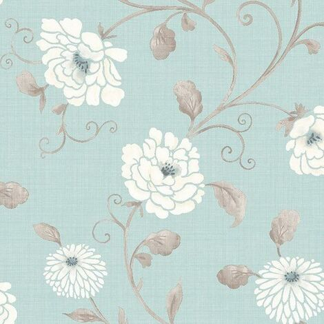 Antoinette Floral Wallpaper Teal White Taupe Flowers Metallic Smooth Finish