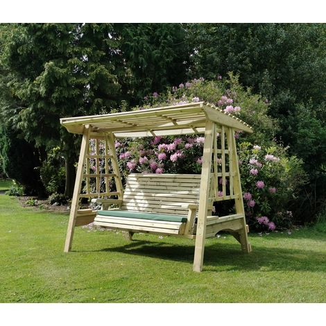 Antoinette Swing - Sits 3, wooden garden swinging chair hammock