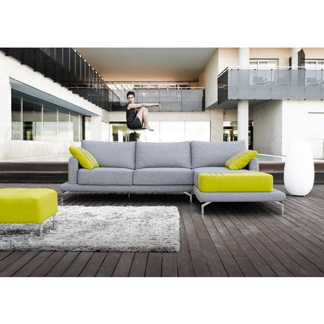 Antonella Grey Green Italian Fabric Corner Group Sofa