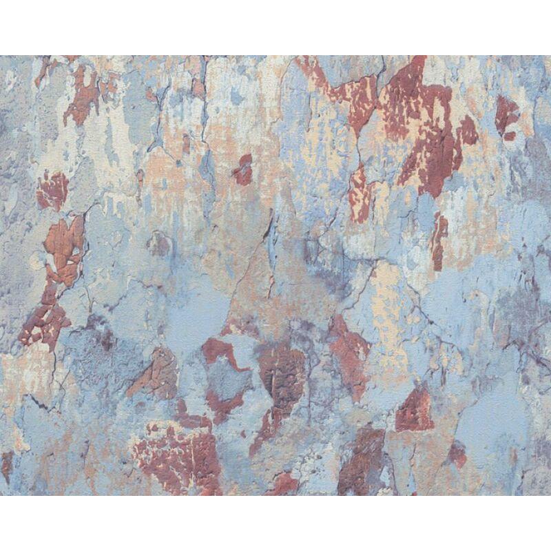 Image of Metropolitan Stories Blue Industrial Print Vinyl Wallpaper - Antonio Barcelona