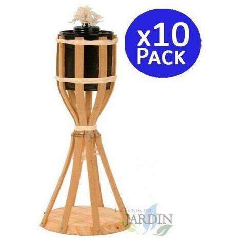 Antorcha de Bambú con base 35 cm. 10 unidades