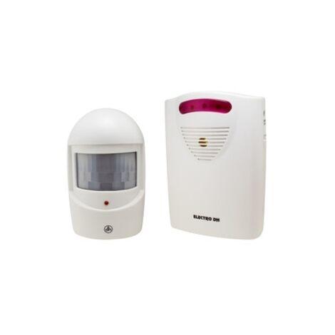 Anunciador de Visitas con luz y sonido Alcance 50 metros, funciona a pilas o con adaptador de corriente Electro DH 50.624/2