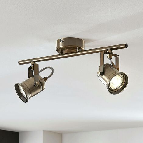 Anze ceiling spotlight in antique brass