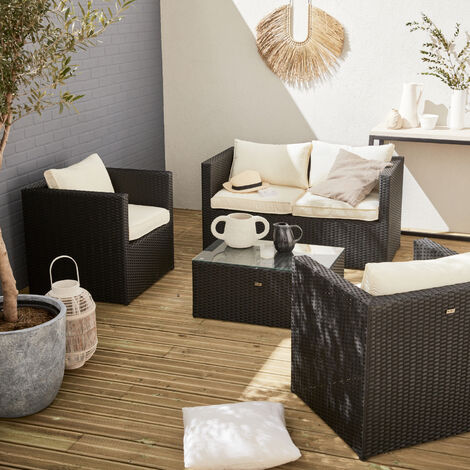 Anzio 4 seater rattan garden sofa set, aluminium, black