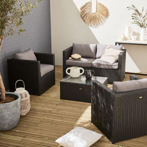 Anzio 4 Seater Rattan Garden Sofa Set Aluminium Black Grey