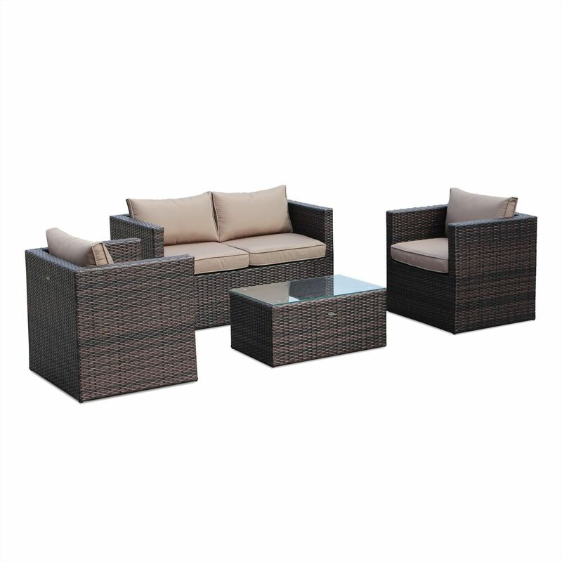 Anzio 4 Seater Rattan Garden Sofa Set Aluminium Chocolate Brown