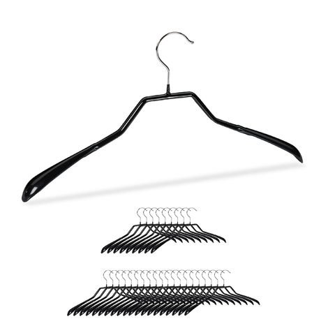 Anzug Kleiderbügel, 30er Set, breite Schulter, rutschfest, gummiert, aus Metall, Kostüm, Jackenbügel, schwarz