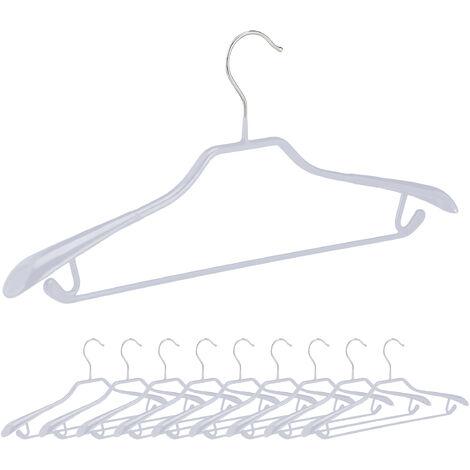 Anzugbügel, 10er Set, breite Schulterauflage, rutschfest gummiert, Hosenstange, Haken, Kleiderbügel, hellgrau
