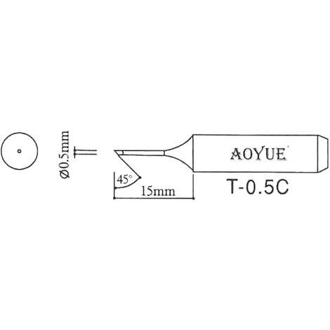 AOYUE T-0.5C Panne à souder de rechange R 0.5mm / 45° Fer à Souder Station de Soudage