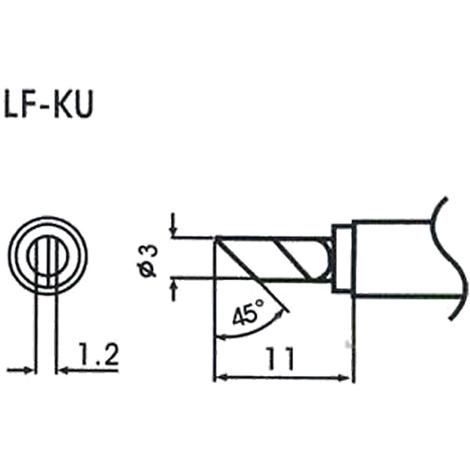AOYUE WQ/LF-KU Pointe à souder 1.2mm 45° Ø3mm Fer à Souder Station de Soudage