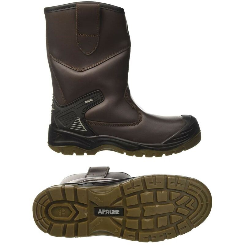 Image of AP305 Safety Rigger Boot Work Site Boot Water Proof 200J Toecap UK Size 9 - Apache