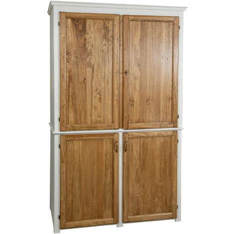 Aparador de cocina de madera maciza de tilo, estructura acabada en blanco envejecido, puertas al natural (cm: 130 x 67 x 210 ) M