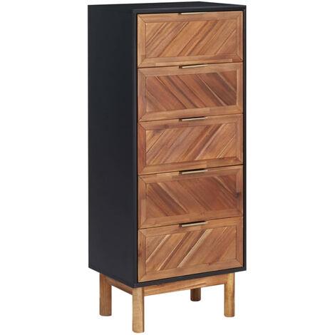 Aparador de madera maciza de acacia y MDF 45x32x115 cm