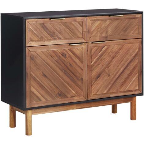 Aparador de madera maciza de acacia y MDF 90x33,5x75 cm