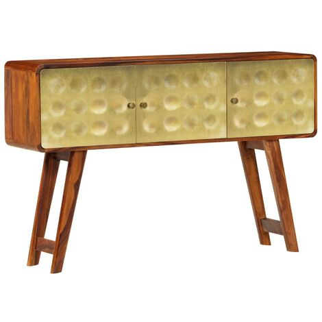 Aparador de madera maciza de sheesham con dorados 120x30x80 cm