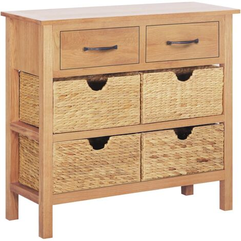 Aparador madera de roble maciza y jacinto de agua 90x33,5x83 cm