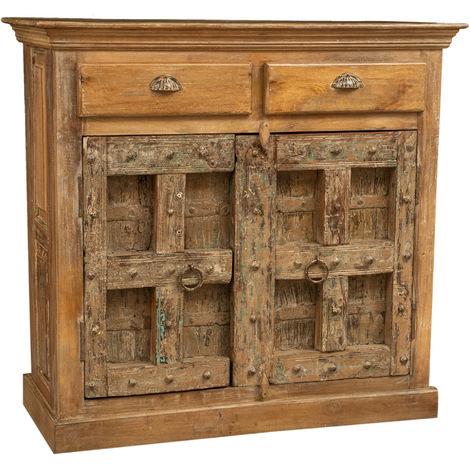 Aparador, mueble, en madera maciza reciclada con acabado antiguo.