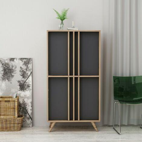 Aparador Rilla Mueble - con Puertas - para Salon, Entrada - Nogal, Antracita en Madera, 72 x 35 x 139 cm