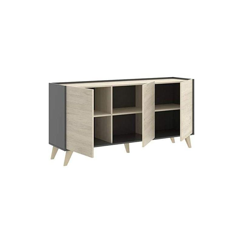 Aparador salón Cocina Mueble Auxiliar Buffet 3 Puertas, Color Grafito y  Natural, Medidas: 75x155x43 cm de Fondo