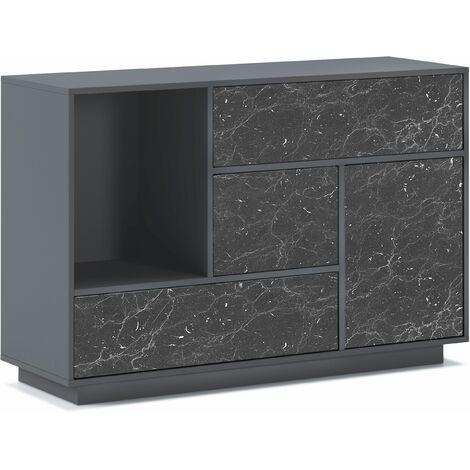 Aparador salón Comedor, Mueble Auxiliar Buffet MARMOL 1 Puerta, 3 cajones. Color estructura GRIS OSCURO, color puerta y cajones MARMOL NEGRO MATE. Medidas: 120x40x80cm.