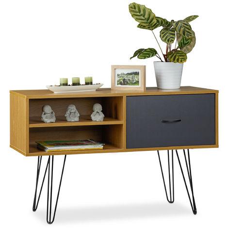Aparador Salón Retro, Mesa Consola, Mueble Auxiliar Vintage, Sideboard, DM-Metal, 62x100x38 cm, Multicolor
