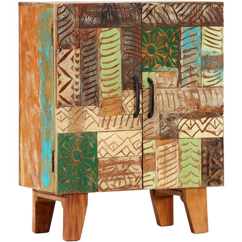Aparador tallado a mano madera maciza reciclada 60x30x75 cm