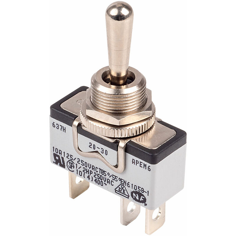 Image of 637H/2 Toggle Switch SPDT Momentary (On)-Off-(On) 250V 10A - Apem