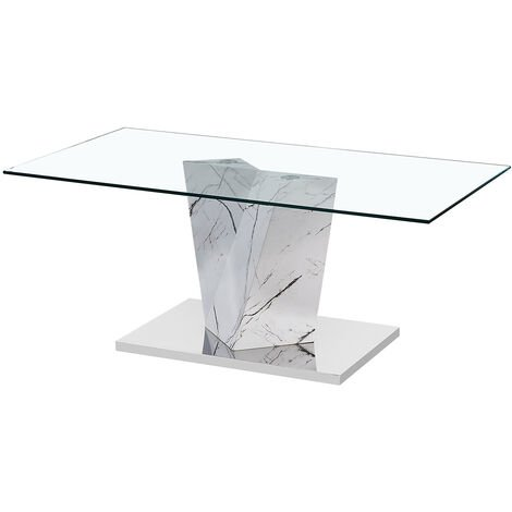Apex Glass Coffee Table White Marble Effect Base