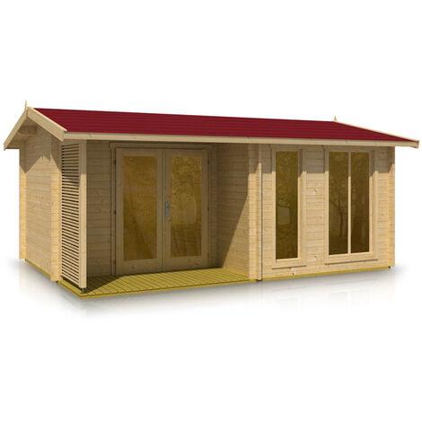 Apex Style Log Cabin 3.8m x 5.3m x 44mm