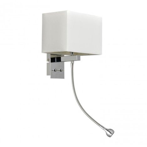 Aplique acero cromado pantalla tela blanca E14 + LED 3W