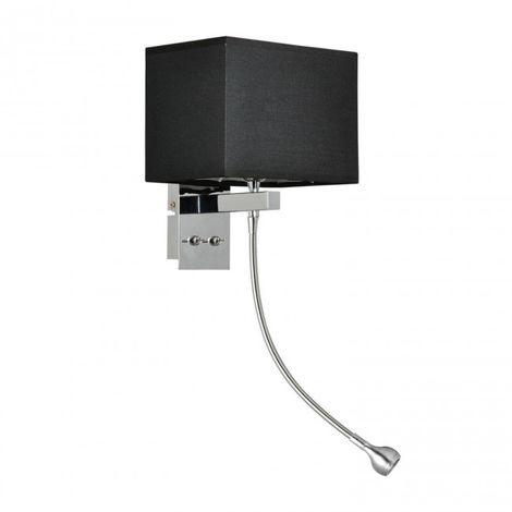 Aplique acero cromado pantalla tela negra E14 + LED 3W
