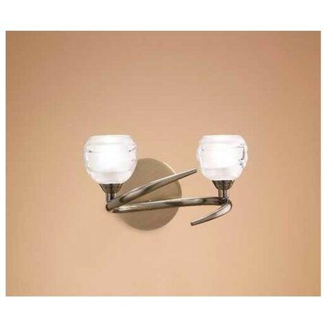 Aplique con doble iluminación LOOP cuero satinado y cristal