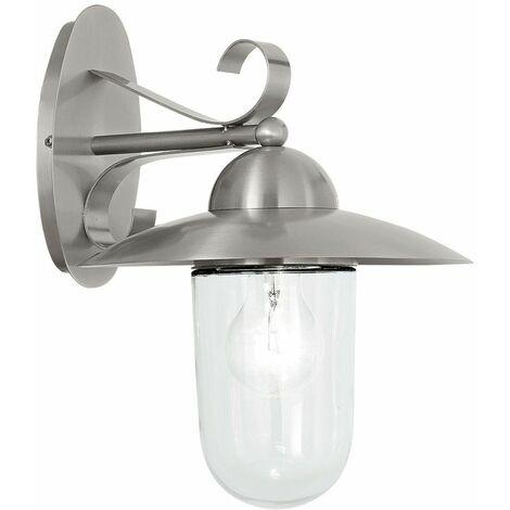 Aplique de exterior de acero inoxidable Lámpara de exterior de acero inoxidable Aplique de pared para terraza, con pantalla de cristal transparente, 1x E27, Al 31 cm