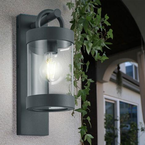 Aplique de exterior, iluminación de terraza, sensor crepuscular, lámpara de jardín en un juego que incluye bombillas LED