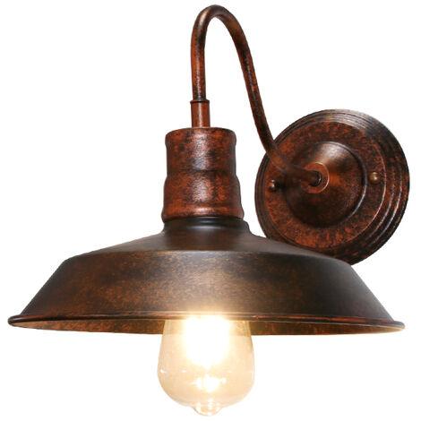 Aplique de Hierro Metal Tapa de Olla Sombrero Vintage Industrial Ajustable Lampara de Pared Diseño Decoracion de Bodega Pasillo Entrada Restaurante?óxido?