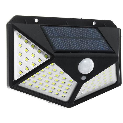 """main image of """"Aplique de pared de 100 LED con energía solar 2835SMD Sensor de movimiento PIR de 3 modos y 4 lados a prueba de agua IP65 Proyector de farola Jardín exterior Camino de seguridad negro Tipo A 1 paquete de 100 LED"""""""