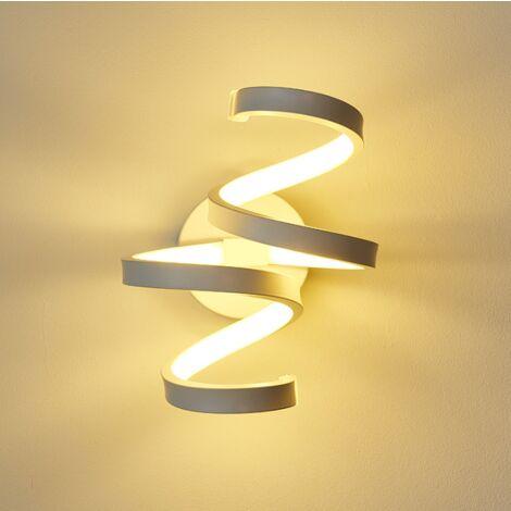 Aplique de Pared de Acrílico Moderno Lámpara de Pared LED Lámpara de Pared Espiral Luz de Pared de Aluminio Simple para Sala de Estar Dormitorio Accesorio de Luz Blanco Cálido